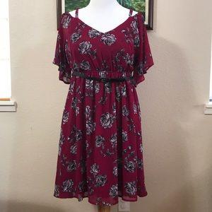 Torrid burgundy floral chiffon cold shoulder dress